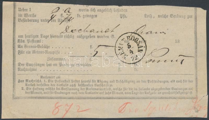 """Hungary-Romania """"NÉMET BOGSÁN"""", Feladóvevény (felül hiányos) """"NÉMET BOGSÁN"""""""