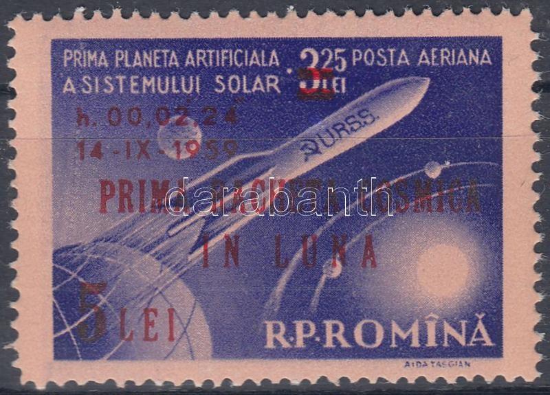 The first moon rocket overprinted stamp, Az első holdrakéta felülnyomott bélyeg