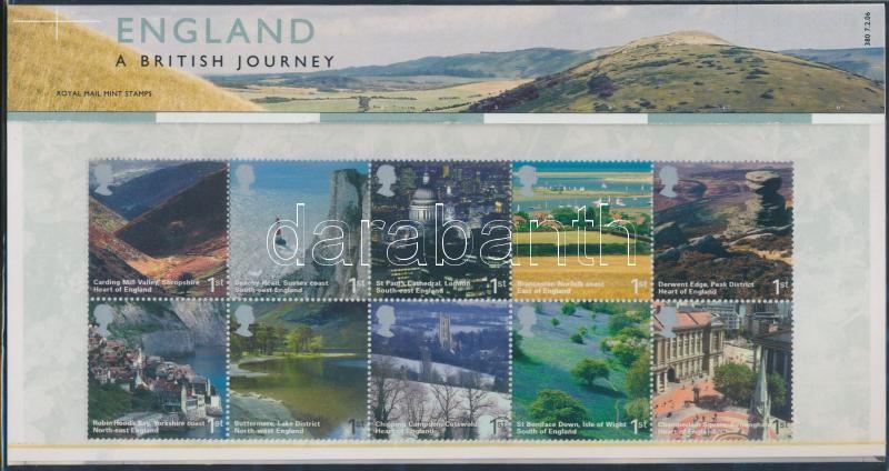 Landscapes (VIII) block of 10 in holder, Tájak (VIII) tizestömb díszcsomagolásban