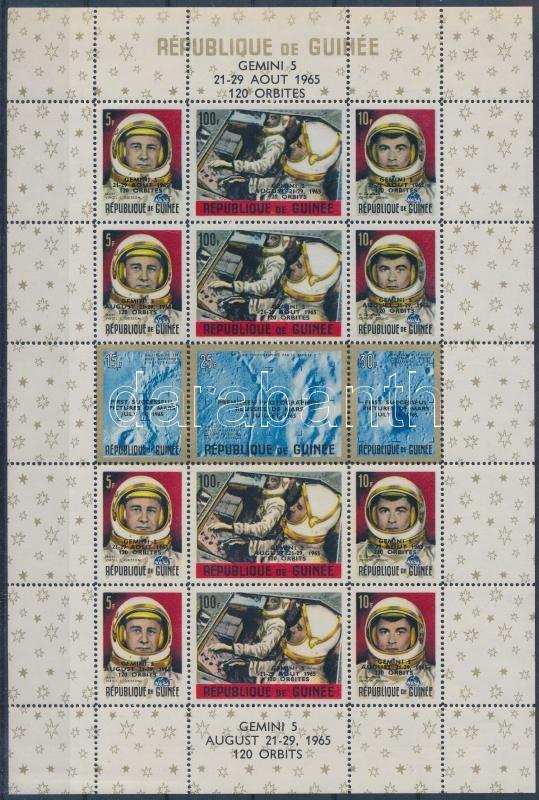 Gemini 5 launch 2 blocks with English and French overprint, A Gemini 5 elindítása 2 blokk angol és francia felülnyomással (2 stecklap)
