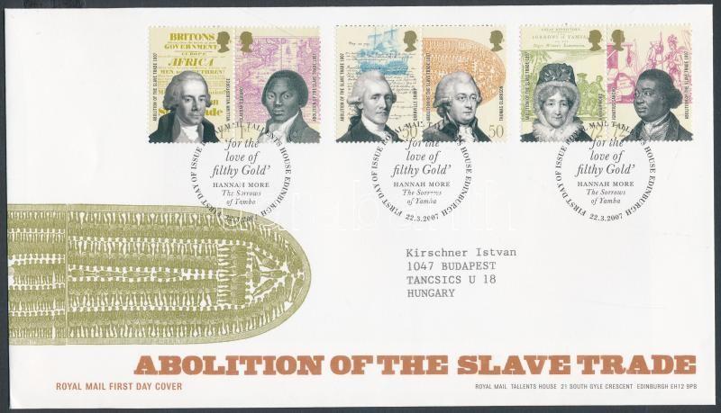 Abolition of the slave trade 3 pairs on FDC, A rabszolga kereskedelem eltörlése 3 pár FDC-n