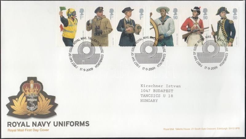 The Royal Navy uniform set on FDC, A Királyi Haditengerészet egyenruhái sor FDC-n