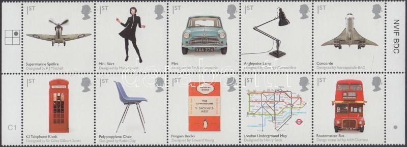 British design margin block of 10, Brit design ívszéli tízestömb