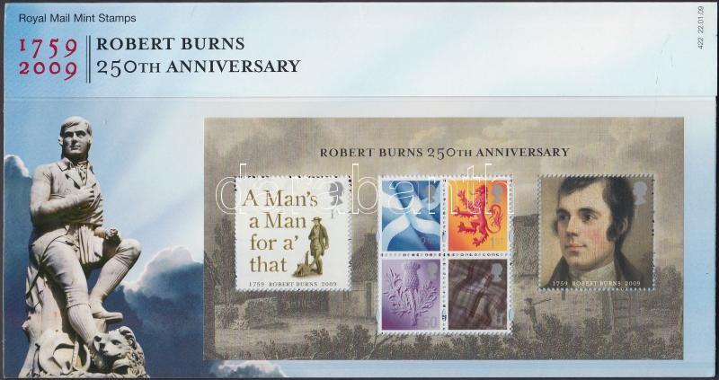 Robert Burns' 250th birth anniversary block in decorative holder, Robert Burns 250. születésnapja blokk díszcsomagolásban