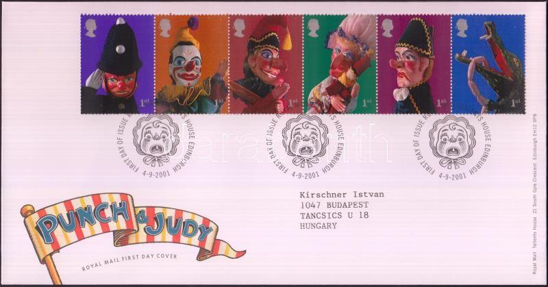 Puppet-show stripe of 6 FDC, Bábszínház hatoscsík FDC-n