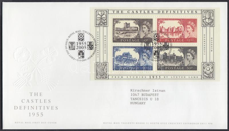 Definitive stamp: Castle block on FDC, Forgalmi bélyeg: Kastélyok blokk FDC-n