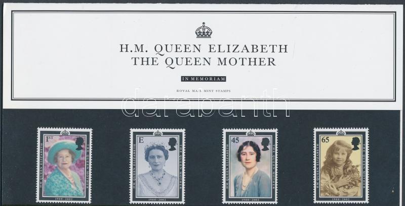 In Memoriam Queen Elizabeth The Queen Mother set in holder, Az anyakirálynő halála sor díszcsomagolásban