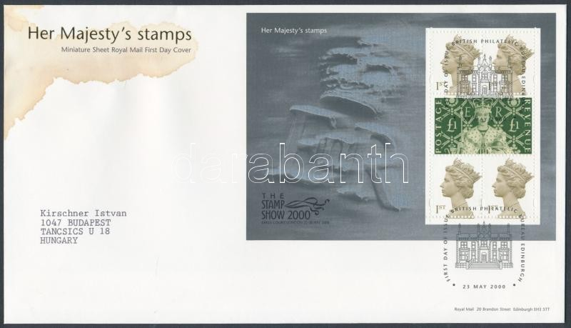 2000 Stamp show London Stamp Exhibition mini sheet FDC, 2000 Stamp show London bélyegkiállítás kisív FDC-n