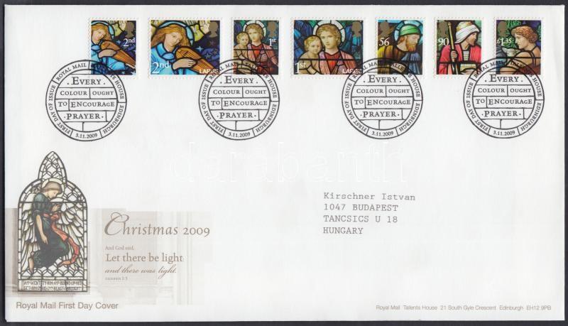 Christmas self-adhesive stamp set on FDC, Karácsony öntapadós bélyegek sor FDC-n