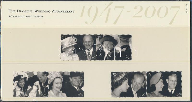The Diamond Wedding Anniversary 3 pairs in holder, A királyi pár 60. Házassági évfordulója 3 pár díszcsomagolásban