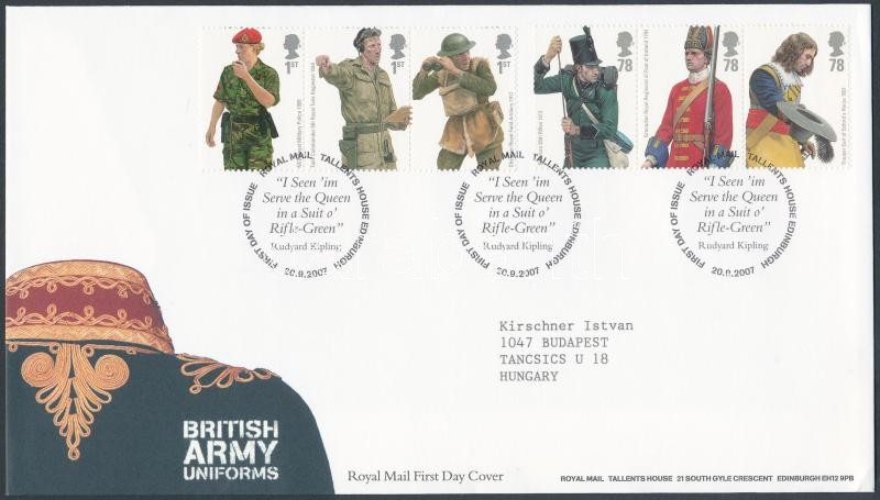 British Army Uniforms 2 stripes of 3 on FDC, Katonai egyenruhák 2 db hármascsík FDC-n