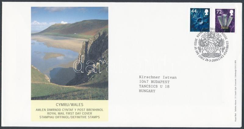 Wales Definitive stamp set on FDC, Wales Forgalmi bélyeg sor FDC-n
