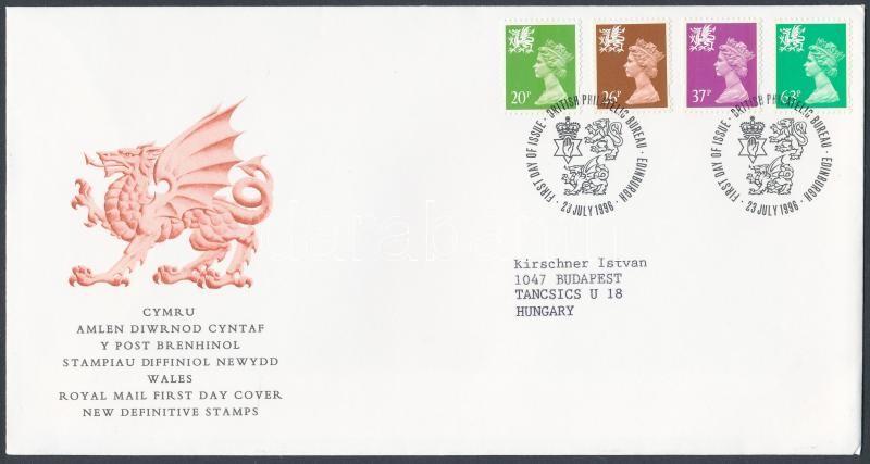 Wales Definitive stamp: Elizabeth II set on FDC, Wales Forgalmi bélyeg: II. Erzsébet sor FDC-n