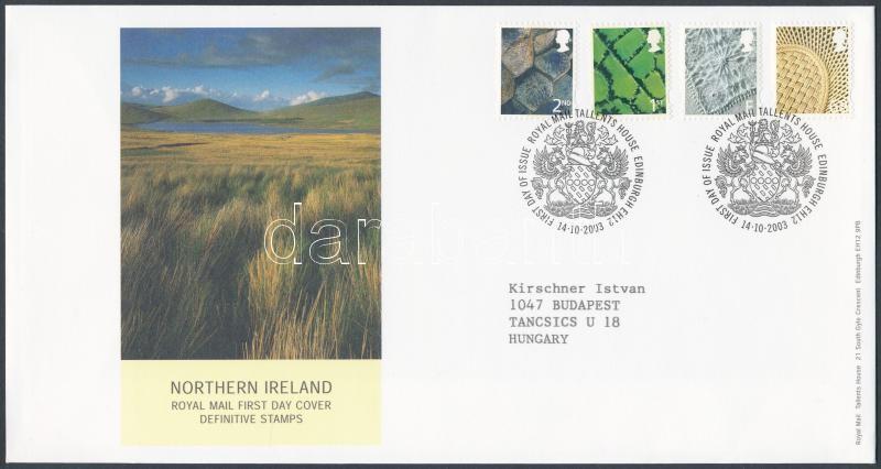 Northern Ireland Definitive stamp on FDC, Észak Írország Forgalmi bélyeg sor FDC-n
