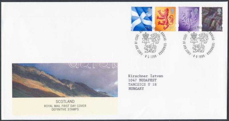 Scotland Definitive stamp set on FDC, Skócia Forgalmi bélyeg sor FDC-n