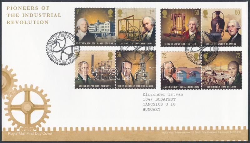 Az ipari forradalom úttörői sor 4 párban FDC-n, Pioneers of the Industrial Revolution set 4 pairs FDC