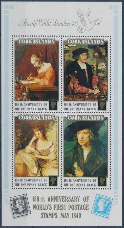 STAMP WORLD LONDON international stamp exhibition: paintings block, STAMP WORLD LONDON nemzetközi bélyegkiállítás: festmények blokk