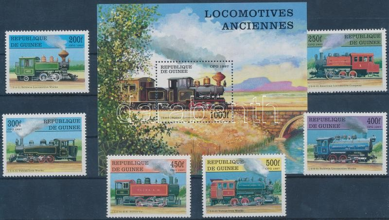 Locomotives set + block, Mozdonyok sor + blokk