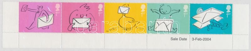 Greeting Stamps: Envelope corner stripe of 5, Üdvözlő bélyegek: boríték ívsarki ötöscsík