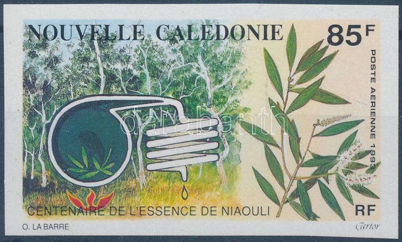Centenary of Niauli oil imperforated stamp, 100 éves a Niauli-olaj vágott bélyeg