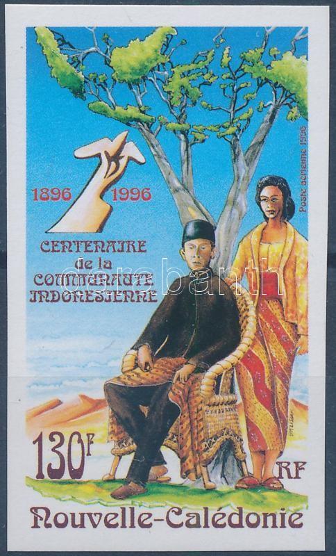 The first Indonesians settled 100 years ago in New Caledonia imperforated stamp, 100 éve telepedtek le az első indonéziaiak Új-Kaledóniában vágott bélyeg