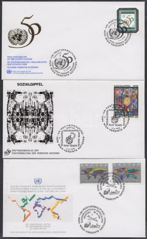 1994-1995 3 diff. FDCs, 1994-1995 3 klf FDC