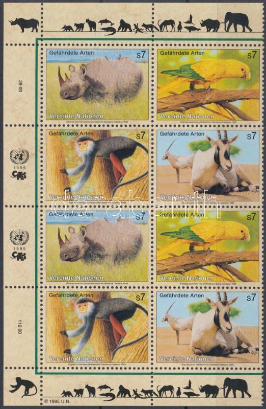 Endangered animals 2 sets in corner block of 8, Veszélyeztetett állatok 2 sort tartalmazó ívsarki nyolcastömb