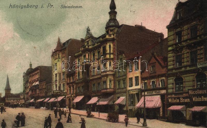 Kaliningrad, Königsberg i. Pr.; Steindamm / street with shops