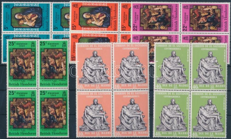 Art motif 8 diff. stamps in relations, with complete sets + 2 diff. blocks, on 2 stock-cards, Művészet motívum 8 klf bélyeg összefüggésekben, közte teljes sorokkal + 2 db blokk, 2 stecklapon