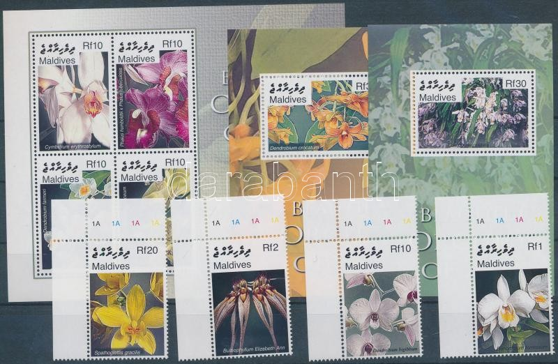 Orchideák ívsarki sor + kisív + 2 blokk, Orchids corner set + minisheet + 2 blocks