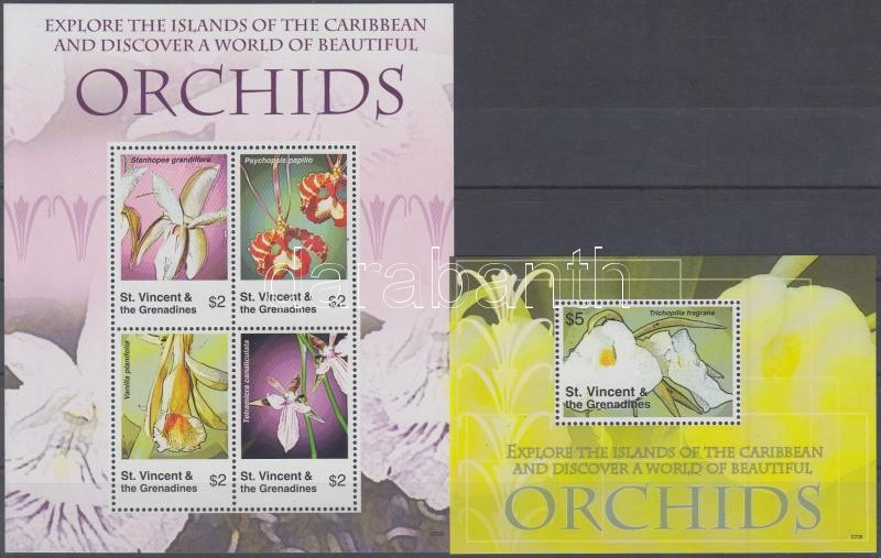 Orchids mini sheet + block, Orchideák kisív + blokk