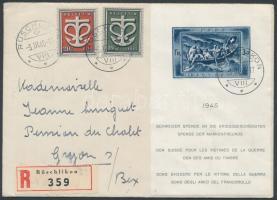1945 A háborúkárosultak javára sor + blokk ajánlott levélen Mi 443-444 + blokk 11