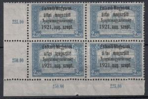 Nyugat-Magyarország I. 2,50K ívsarki négyestömb (36.000) / Mi 9 corner block of 4. Signed: Bodor