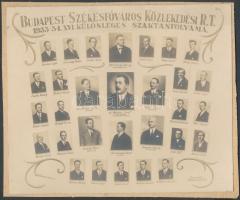 1934 Budapest Székesfőváros Közlekedési Rt. 1933-1934. XVI. Különleges szaktanfolyama, kistabló 30 nevesített portréval, kartonra ragasztva, 17x20 cm