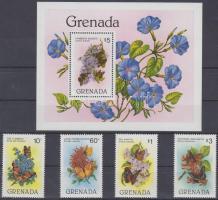 1982 Lepkék és virágok sor Mi 1144-1147 + blokk Mi 104