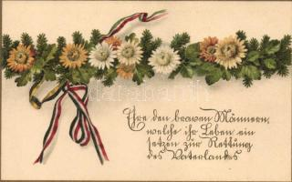 Austro-Hungarian and German ribbons with flowers litho, Osztrák-magyar és német szalagok virágokkal, litho