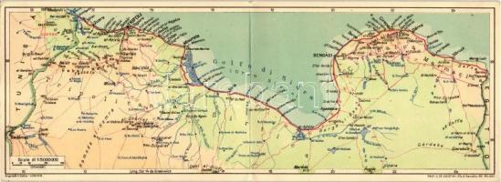 Misrata, Misurata; Albergo / hotel, Italian North Africa, colonial map; folding card