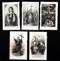 Litográfiák: Szent képek, Bibliai jelenetek, 5db, 14,5xc9cm