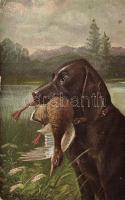 Hunting dog with duck, Vadászkutya elejtett kacsával