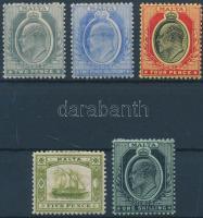 1907 Forgalmi értékek Mi 34-36, 38-39