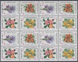 Flowers block of 16 with 4 sets (corner damage), Virágok 4 sort tartalmazó 16-os tömb (saroktörés)