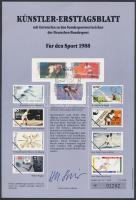 1988 Téli olimpia sor Mi 1353-1355 emléklapon
