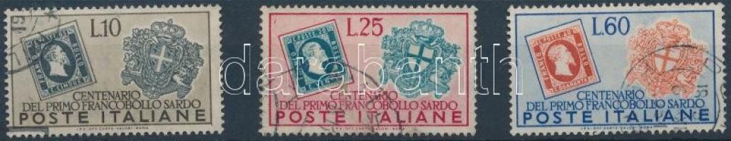 1951 100 éves a szardíniai bélyeg sor Mi 845-847