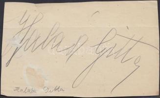 Halász Gitta (1896-?) szoprán. Aláírása kivágáson.