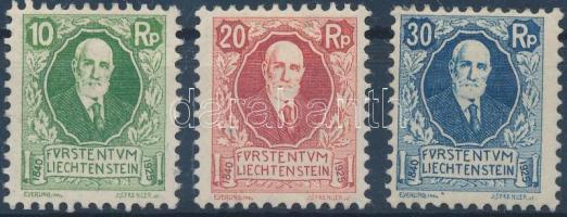 1925 II. János herceg születésének 85. évfordulója sor Mi 72-74