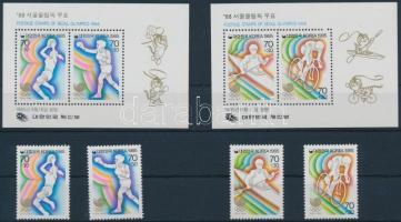 1985 Nyári olimpia, 1988 2 sor Mi 1421-1422 + 1427-1428 + 2 blokk 507-508
