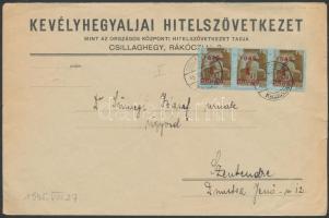 1945 (2.díjszabás) Távolsági Levél Kisegítő (I) 3x1P/80f bérmentesítéssel