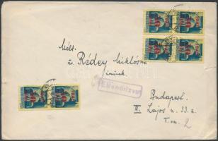 1945 (2.díjszabás) Távolsági cenzúrázott levél Kisegítő (I) 6x50f/50f bérmentesítéssel (kissé szakadt boríték)