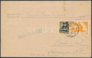 1946 (6.díjszabás) Nyomtatvány Kisegítő (III) 60P/18f + Újjáépítés 100P bérmentesítéssel