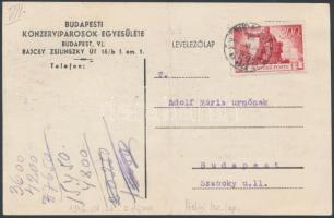 1946 (6.díjszabás) Helyi levelezőlap Újjáépítés 3200P bérmentesítéssel (hajtott)